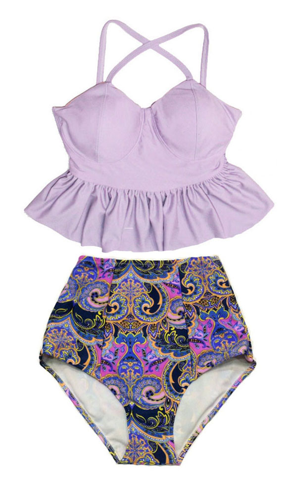 Swimsuit Bikini Top Long Peplum Lavender High Waisted