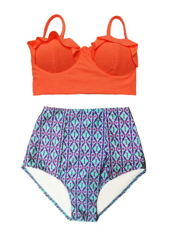 6809318eae35e Orange Midkini Top and Mint Burgundy Geometric Graphic High Waisted Waist  Rise Pin up Slimming Flattering Bottom Handmade Woman Women Retro Swimsuit  ...